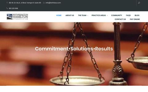 Screenshot of Home Page whhlaw.com - Wetherington Hamilton Tampa Law Firm - captured Nov. 18, 2018