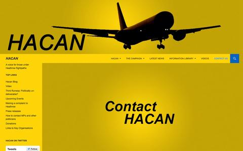 Screenshot of Contact Page hacan.org.uk - Contact us | HACAN - captured July 16, 2015