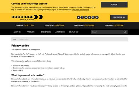 Screenshot of Privacy Page rudridge.co.uk - Privacy policy - captured Oct. 20, 2018