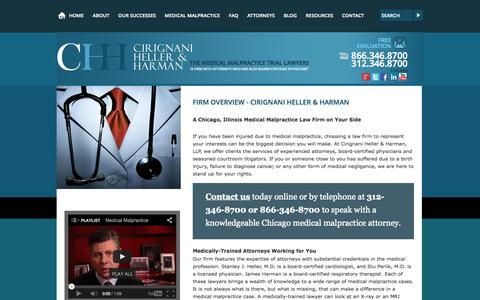 Screenshot of About Page cirignani.com - Chicago IL Injury Law Firm Overview | Cirignani Heller & Harman - captured Oct. 2, 2014
