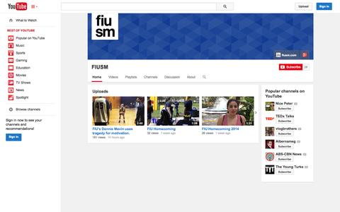 Screenshot of YouTube Page youtube.com - FIUSM  - YouTube - captured Oct. 24, 2014