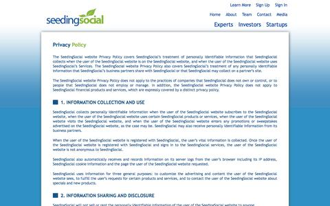 Screenshot of Privacy Page seedingsocial.com - Privacy Policy | Seeding Social - captured Sept. 30, 2014