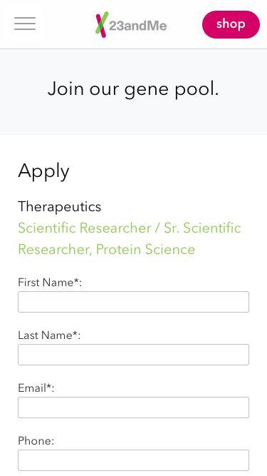 Screenshot of Jobs Page  23andme.com -