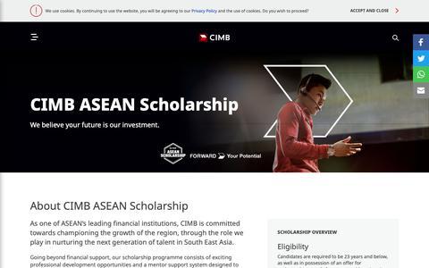 Screenshot of FAQ Page cimb.com - CIMB ASEAN Scholarship - STUDENTS | CIMB CAREERS - captured March 17, 2019