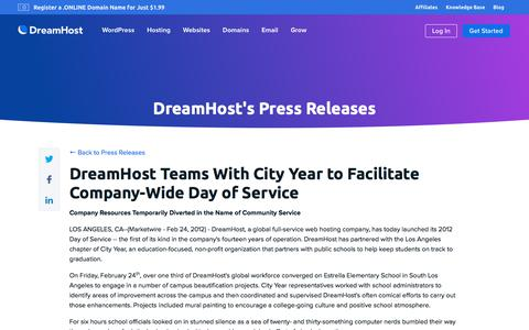 Screenshot of Press Page dreamhost.com - DreamHost Teams With City Year to Facilitate Company-Wide Day of Service  – DreamHost - captured Feb. 21, 2020