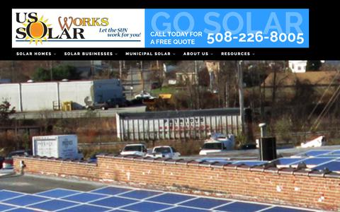 Screenshot of Home Page ussolarworks.com - Home - US SolarWorksUS SolarWorks - captured Oct. 6, 2014