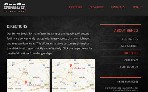 Screenshot of Maps & Directions Page bencotechnology.com - Directions - Laser Cutting in PA & Metal Fabrication in PA - BenCo Technology - captured Oct. 10, 2017