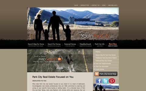 Screenshot of Home Page youinparkcity.com - Park City Real Estate | Deer Valley Real Estate | Utah Homes Condominiums Land - captured Oct. 7, 2014