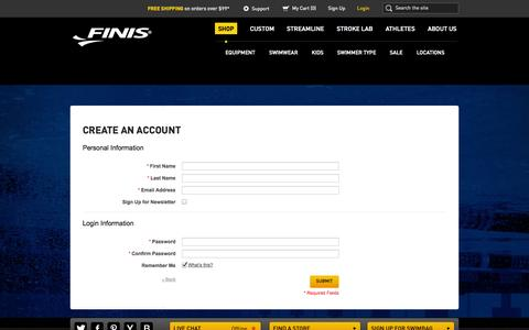 Screenshot of Signup Page finisinc.com - Create New Customer Account | FINIS - captured Sept. 19, 2014