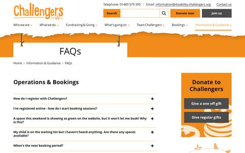 Screenshot of FAQ Page disability-challengers.org - Frequently Asked Questions (FAQs) | Challengers Challengers - - captured Nov. 3, 2016