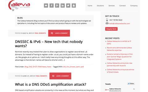 Screenshot of Blog callevanetworks.com - DNS, DHCP, IPAM, BYOD, IPv6 Blog topics | Calleva Networks - captured Oct. 1, 2014