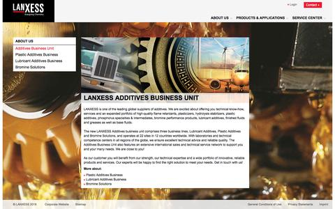 Screenshot of About Page lanxess.com - ADD | - captured June 29, 2018