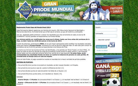 Screenshot of Login Page prodecasadelaudio.com.ar - -Prode - captured Sept. 19, 2014