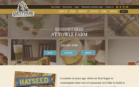 Screenshot of Hours Page smuttynose.com - Hayseed Restaurant | Smuttynose Brewing Company - captured Dec. 10, 2016