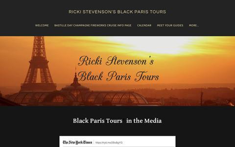 Screenshot of Press Page blackparistour.com - Black Paris Tours in the Media - Black Paris Tours with Guide Ricki Stevenson - Exploring the Best of Black Paris - RICKI STEVENSON'S BLACK PARIS TOURS - captured Nov. 21, 2018