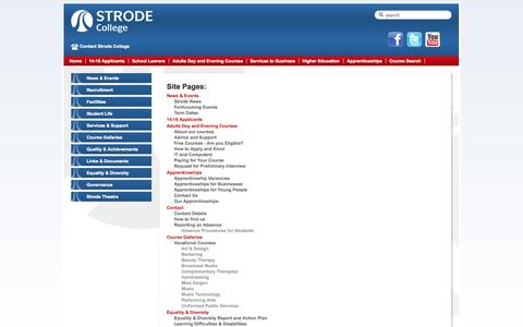 Screenshot of Site Map Page strode-college.ac.uk - Strode College - - captured Oct. 7, 2014