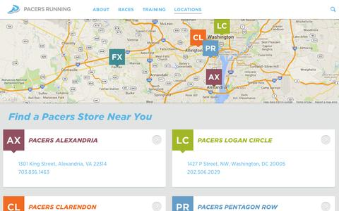Screenshot of Locations Page runpacers.com - Locations | Pacers Running - captured Nov. 1, 2014