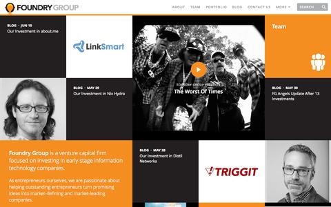 Screenshot of Home Page foundrygroup.com - Foundry Group | Foundry Group - captured Sept. 23, 2014