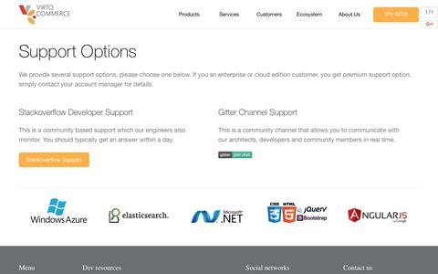 Screenshot of Support Page virtocommerce.com - Virto commerce - Support Options - captured June 22, 2017