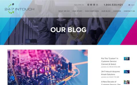 Screenshot of Blog 24-7intouch.com - The Future of Contact Centers: Where Will Technology Take Us? - captured Feb. 20, 2020