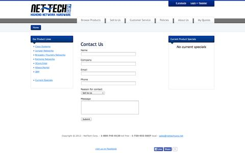 Screenshot of Contact Page netechinc.net - Used Cisco, Foundry, Extreme, and Juniper Network Equipment - NetTech Corp - Denver CO, Boulder CO & Worldwide - captured Oct. 26, 2014