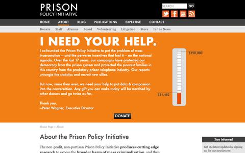 Screenshot of About Page prisonpolicy.org - About | Prison Policy Initiative - captured Nov. 10, 2018