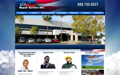 Screenshot of Home Page usbestrepairs.com - US Best Repair Service, Inc. | Nationwide Property Preservation & Property Maintenance, REO - captured Feb. 2, 2016