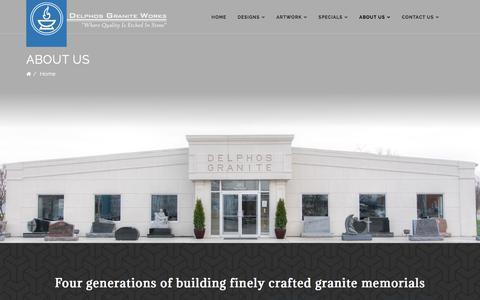 Screenshot of About Page delphosgraniteworks.com - Delphos Granite Works - About Us - captured Aug. 6, 2018