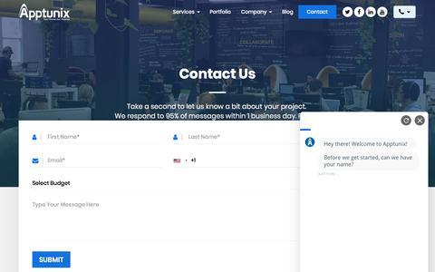 Screenshot of Contact Page apptunix.com - Contact Apptunix | Mobile App Development Company USA, UK & India - captured Sept. 11, 2019