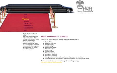 Screenshot of Services Page angellimo.co.uk - Limo Hire in Essex   Limousine Hire in Essex  Chauffeur Driven Limo   Angel Limousines, Southend, Essex, London, UK - captured Oct. 4, 2014