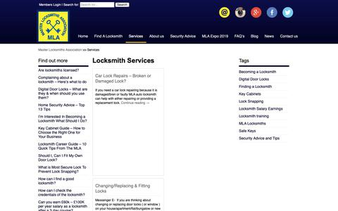 Screenshot of Services Page locksmiths.co.uk - Locksmith Services provided by MLA Approved Locksmiths - captured Oct. 17, 2018
