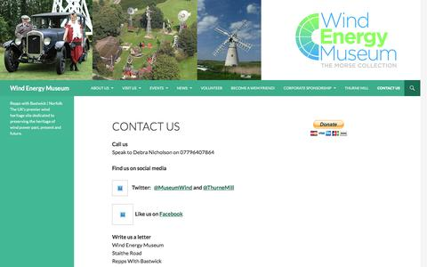 Screenshot of Contact Page wordpress.com - Contact Us | Wind Energy Museum - captured Feb. 28, 2017