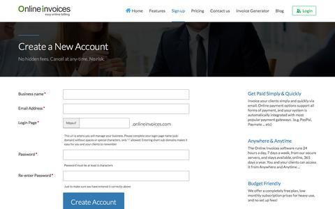 Screenshot of Signup Page onlineinvoices.com - Create a New Account - Online Invoices - captured Aug. 12, 2016