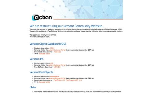 Screenshot of Developers Page versant.com - Versant Developer Community - captured Oct. 25, 2014