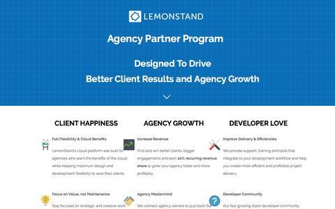 Screenshot of Landing Page lemonstand.com - LemonStand Agency Partner Program - captured April 21, 2017