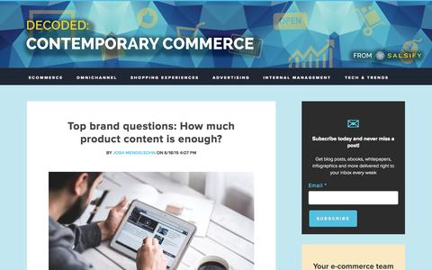 Screenshot of Blog salsify.com - Decoded: Contemporary Commerce - The Salsify Marketing Blog - captured July 3, 2015