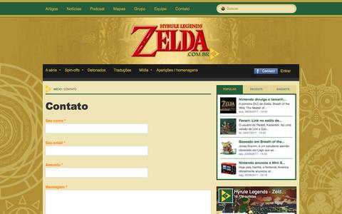 Screenshot of Contact Page zelda.com.br - Contato | Hyrule Legends - captured Sept. 20, 2017