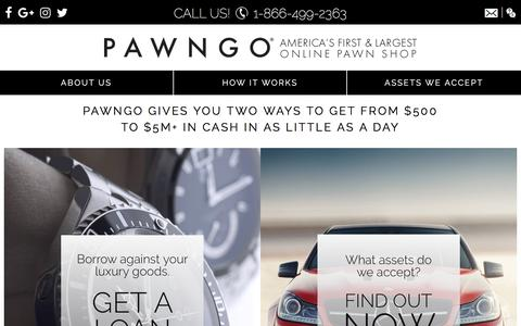 Screenshot of Home Page pawngo.com - Online Pawn Shop - Loans | Pawngo Official Site - captured Feb. 3, 2018