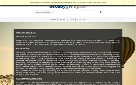 Screenshot of Terms Page grosbygroup.com - The Grosby Group - captured Nov. 30, 2016