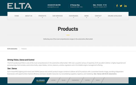 Screenshot of Products Page elta.co.uk - Products - ELTA Automotive - captured Sept. 28, 2018