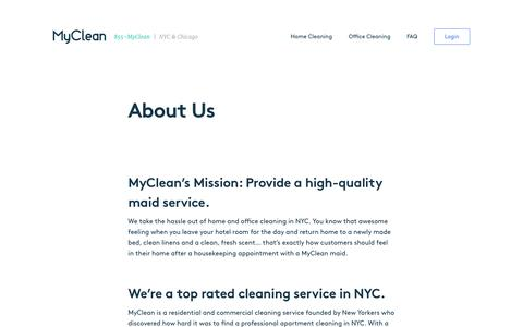 Screenshot of About Page Contact Page myclean.com - About Us | MyClean Cleaning Services - captured March 3, 2017