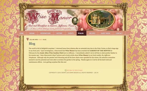 Screenshot of Blog wisemanor.com - Award!   Wise Manor Bed and Breakfast Inn - captured June 17, 2016