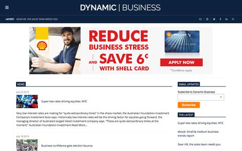 Screenshot of Press Page dynamicbusiness.com.au - News | Dynamic Business - captured July 22, 2019