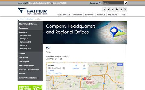 Screenshot of Locations Page fathomdelivers.com - Digital Marketing Agency in Ohio | Fathom Locations - captured Oct. 10, 2014