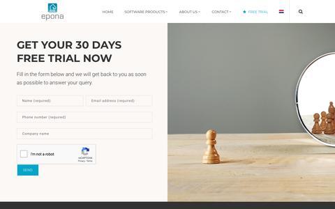 Screenshot of Trial Page epona.com - Free Trial – Epona - captured July 20, 2018