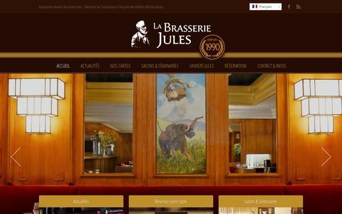 Screenshot of Home Page brasserie-jules.fr - Restaurant Amiens Brasserie Jules ‹ Restaurant Amiens Brasserie Jules – Membre de l'association Française des Maîtres Restaurateurs - captured Oct. 16, 2015