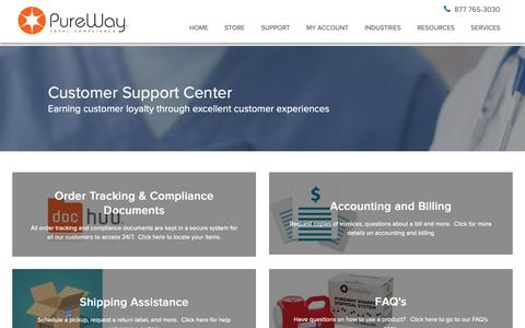 Screenshot of Support Page pureway.com - support - captured Sept. 30, 2018
