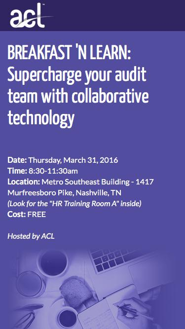 Screenshot of Landing Page  acl.com - RSVP for Nashville Breakfast 'N Learn event March 31st