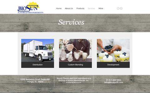 Screenshot of Services Page biosunffi.com - Biosun FFI | Flavors & Food Ingredients Supplier | Services - captured Oct. 10, 2017