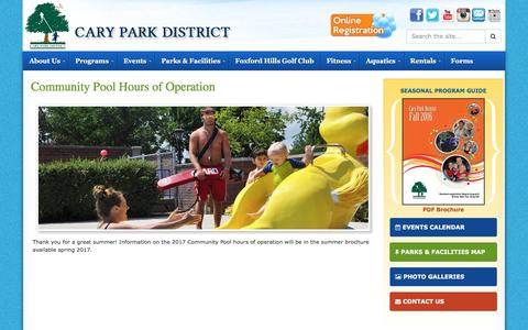 Screenshot of Hours Page carypark.com - Community Pool Hours of Operation | Cary Park District - captured Oct. 25, 2016
